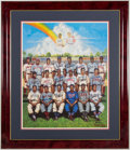 Autographs:Photos, Negro League Greats Multi Signed Ron Lewis Lithograph.. ...