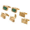 Estate Jewelry:Cufflinks, Jadite Jade, Gold Cuff Links. ... (Total: 3 Items)