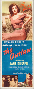 "Movie Posters:Western, The Outlaw (United Artists, 1946). Insert (14"" X 36""). Western....."