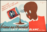 """Créme au Chocolat (Lait Mont Blanc, c.1950s). Full-Bleed French Advertising Poster (11"""" X 16.5""""). Misce..."""