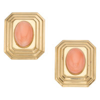 Coral, Gold Earrings