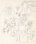 Original Comic Art:Sketches, Skip Williamson Snappy Sammy Smoot Sketch Original Art (c.1970s)....