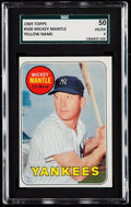 Baseball Cards:Singles (1960-1969), 1969 Topps Mickey Mantle (Yellow Letters) #500 SGC 50 VG/EX 4....