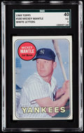 Baseball Cards:Singles (1960-1969), 1969 Topps Mickey Mantle (White letters) #500 SGC 40 VG 3....
