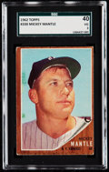 Baseball Cards:Singles (1960-1969), 1962 Topps Mickey Mantle #200 SGC 40 VG 3....