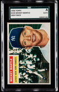 Baseball Cards:Singles (1950-1959), 1956 Topps Mickey Mantle (Gray Back) #135 SGC Authentic....