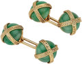 Estate Jewelry:Cufflinks, Chrysoprase, Gold Cuff Links, Van Cleef & Arpels. ...