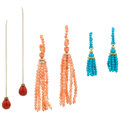 Estate Jewelry:Earrings, Coral, Turquoise, Gold Earrings, Cynthia Bach. ... (Total: 3 Items)