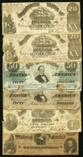 Confederate Notes:Group Lots, A Selection of Confederate Treasury Notes ca. 1861-64. SixExamples.. ... (Total: 6 notes)
