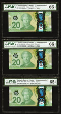 Canadian Currency: , BC-74 $20 2015, Three Consecutive Examples.. ... (Total: 3 notes)