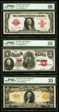 Large Size:Legal Tender Notes, Fr. 40 $1 1923 Legal Tender PMG Extremely Fine 40;. Fr. 91 $5 1907Legal Tender PMG About Uncirculated 55;. Fr. 1187 $20 1922 ...(Total: 3 notes)