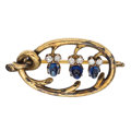 Estate Jewelry:Brooches - Pins, Sapphire, Diamond, Gold Brooch, Russian. ...