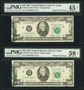 Error Notes:Foldovers, Fr. 2075-H $20 1985 Federal Reserve Notes. Two Consecutive...