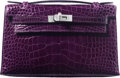 "Luxury Accessories:Bags, Hermes Amethyst Alligator Kelly Pochette Bag with PalladiumHardware. P Square, 2012. Condition: 1. 8.5"" Width x 5"" Height x..."