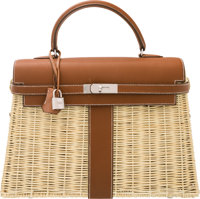 Hermes Limited Edition 35cm Barenia Leather & Osier Wicker Picnic Kelly Bag with Palladium Hardware O Square, 2...