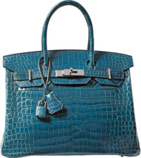 Hermes 30cm Blue Roi Porosus Crocodile Birkin Bag with Palladium Hardware H Square, 2004 Conditio