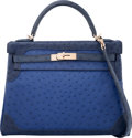 Luxury Accessories:Bags, Hermes Limited Edition 32cm Blue Sapphir, Blue Iris, & Blue deMalte Ostrich Retourne Ghillies Kelly Bag with Permabrass Hardw...