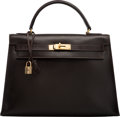 Luxury Accessories:Accessories, Hermes 32cm Marron Fonce Calf Box Leather Sellier Kelly Bag withGold Hardware. I Circle, 1979. Con...