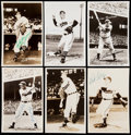 Autographs:Post Cards, Lot of 6 Cleveland Indians Hall of Fame Signed Postcards, 3 Images Used on Cards. ...