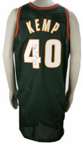 Basketball Collectibles:Others, 1996-97 Shawn Kemp Signed Jersey. On display here we have ahandsome road green mesh Seattle Supersonics official game-issu...