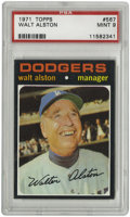 Baseball Cards:Singles (1970-Now), 1971 Topps Walt Alston #567 PSA Mint 9. Near perfect example of thegreat Dodger manager's entry in the black-bordered 197...