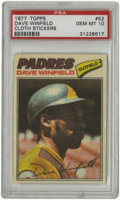 Baseball Cards:Singles (1970-Now), 1977 Topps Cloth Stickers Dave Winfield #52 PSA Gem Mint 10. TheHall of Fame slugger Dave Winfield has been preserved to t...