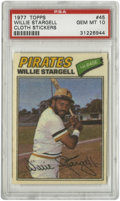 Baseball Cards:Singles (1970-Now), 1977 Topps Cloth Stickers Willie Stargell #45 PSA Gem Mint 10.Pops' entry in the 1977 Topps Cloth Sticker issue has been g...