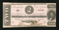 Confederate Notes:1862 Issues, T54 $2 1862. Three margins are outside the frame lines. CrispUncirculated....