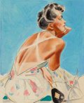 Mainstream Illustration, Albert W. Hampson (American, 1911-1990). Tan Lines, The SaturdayEvening Post cover study. Watercolor and pencil on boar...