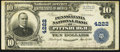 National Bank Notes:Pennsylvania, Pittsburgh, PA - $10 1902 Plain Back Fr. 627 The Pennsylvania NBCh. # 4222. ...