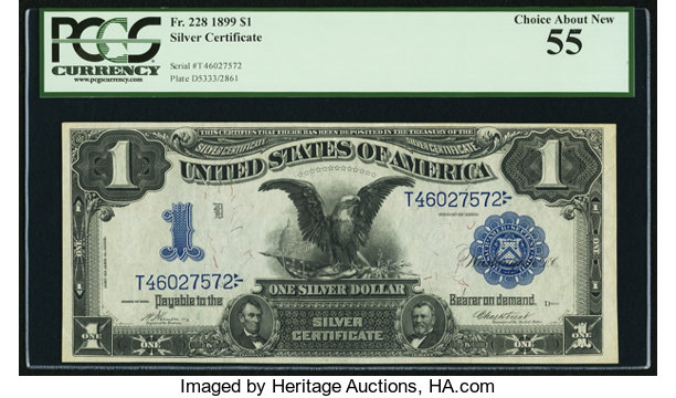 Fr. 228 $1 1899 Silver Certificate PCGS Choice About New 55 ...