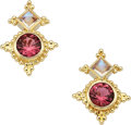 Estate Jewelry:Earrings, Pink Tourmaline, Moonstone, Gold Earrings, Paula Crevoshay. ...