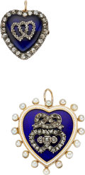 Estate Jewelry:Brooches - Pins, Victorian Diamond, Seed Pearl, Enamel, Glass, Gold, Silver-ToppedGold Pendant-Brooches. ... (Total: 2 Items)