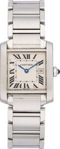 Estate Jewelry:Watches, Cartier Lady's Tank Francaise Stainless Steel Watch. ...