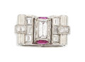 Estate Jewelry:Rings, Retro Diamond, Ruby, Platinum Ring . ...
