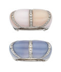 Estate Jewelry:Rings, Diamond, Chalcedony, Pink Opal, White Gold Rings, Garavelli. ...(Total: 2 Items)