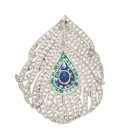 Estate Jewelry:Brooches - Pins, Art Deco Diamond, Sapphire, Emerald, Platinum Brooch. ...