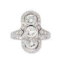 Estate Jewelry:Rings, Diamond, White Gold Ring . ...