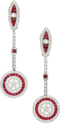 Estate Jewelry:Earrings, Diamond, Ruby, Platinum Earrings. ...