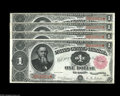 Large Size:Treasury Notes, Fr. 350 $1 1891 Treasury Note Cut Sheet of Four About New. We've handled very few Cut Sheets of Treasury Notes, and this one... (4 notes)