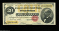 Large Size:Gold Certificates, Fr. 1178 $20 1882 Gold Certificate Very Fine. Beautifully coloredand perfect save for a small repaired split in the upper l...