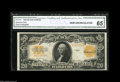 Large Size:Gold Certificates, Fr. 1187 $20 1922 Gold Certificate CGA Gem Uncirculated 65. Well margined, with beautifully bright color and embossing that ...