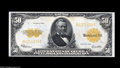 Large Size:Gold Certificates, Fr. 1200 $50 1922 Gold Certificate Superb Gem New. One of the verynicest Gold Fifties that we have handled, with its cavern...