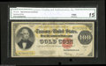 Large Size:Gold Certificates, Fr. 1215 $100 1922 Gold Certificate CGA Fine 15 Restored. Restoration on the back on this $100 is evident through the duly n...