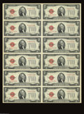 Small Size:Legal Tender Notes, Fr. 1507 $2 1928F Legal Tender Notes. Uncut Sheet of 12. Choice Crisp Uncirculated. Almost as nice as the Gem sheet offered...
