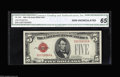 Small Size:Legal Tender Notes, Fr. 1528/Fr. 1529 $5 1928C/1928D Legal Tender Notes. Changeover Pair. CGA Gem Uncirculated 65, 66. Oakes list only one $5 1... (2 notes)