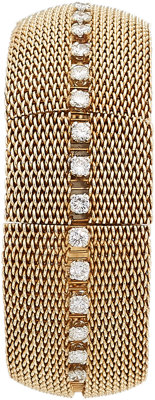Swiss Lady's Diamond, Gold Covered Dial Bracelet Watch