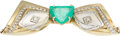 Estate Jewelry:Brooches - Pins, Emerald, Diamond, Gold Brooch. ...