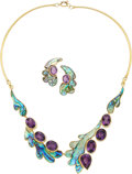 Estate Jewelry:Suites, Amethyst, Abalone Shell, Gold Jewelry Suite. ... (Total: 2 Items)