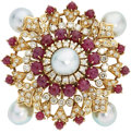 Estate Jewelry:Brooches - Pins, Diamond, South Sea Cultured Pearl, Ruby, Gold Brooch. ...